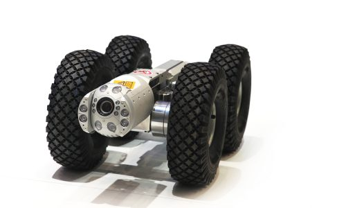 Technological robot on wheels with a video camera for testing of pipes